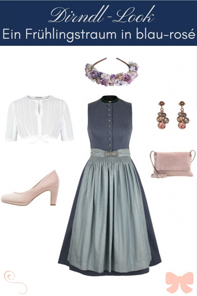 Gottseidank Dirndl blau rosé mit Accessoires, Pinterest