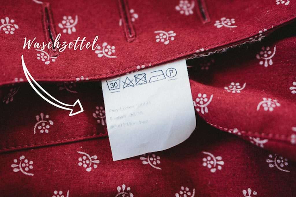 Rotes Dirndl Tipp Waschzettel