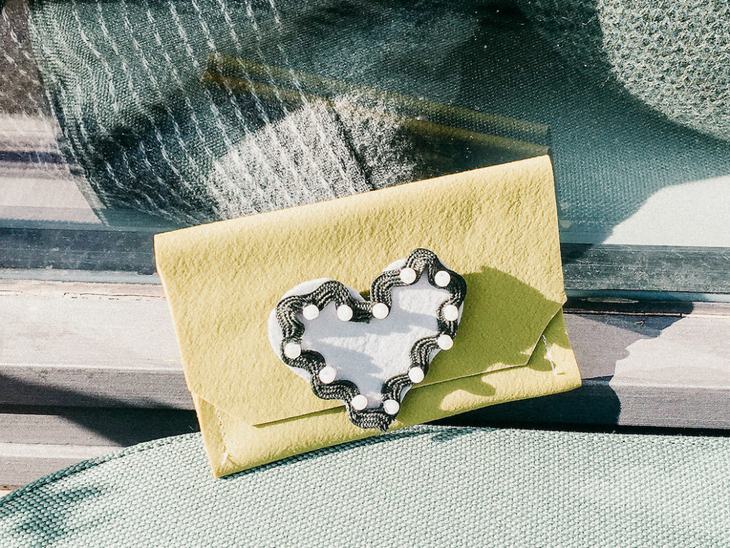 Kleine Tasche aus Fimo leather-effect in grün